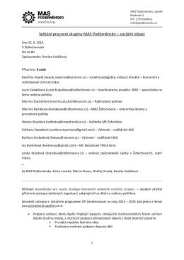 Setkání pracovní skupiny MAS Podbrněnsko – sociální oblast