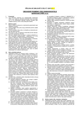 Všeobecné obchodní podmínky pro subdodavatele skupiny
