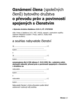 Oznámení o převodu družstevních práv - SVJ a BD Babákova 2151-5