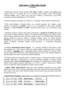 Informace z Obecního úřadu 11.5.2015