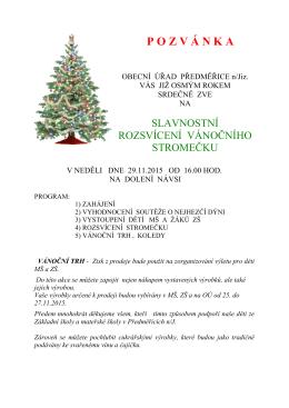Slavnostní rozsvícení vánočního stromečku 29. 11. 2015