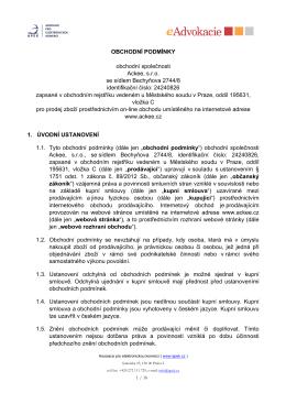 OBCHODNÍ PODMÍNKY obchodní společnosti Ackee, s.r.o. se
