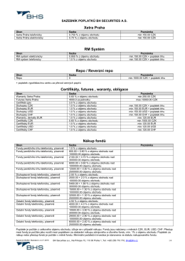 Sazebník BH Securities a.s. - Basic Standard x 4