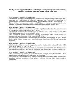 Návrhy usnesení a jejich zdůvodnění k jednotlivým