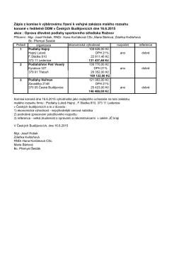 Zápis z komise k výběrovému řízení k veřejné zakázce malého