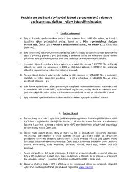 Pravidla pro podávání a vyřizování žádostí o pronájem bytů v