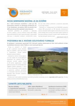 Newsletter č.10. ze dne 19. 8. 2015