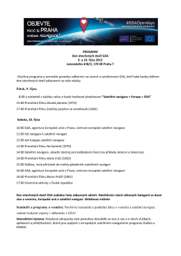 PROGRAM Den otevřených dveří GSA 9. a 10. října 2015