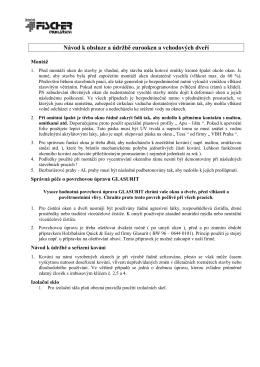 Návod k obsluze a údržbě eurooken a vchodových dveří