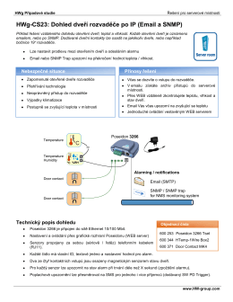 HWg-CS23: Dohled dveří rozvaděče po IP (Email a SNMP)