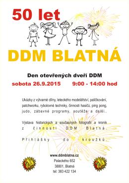 Den otevřených dveří DDM sobota 26.9.2015 9:00