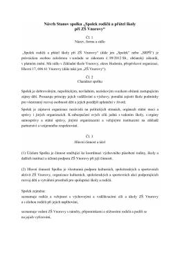 """Návrh Stanov spolku """"Spolek rodičů a přátel školy při ZŠ Vnorovy"""""""