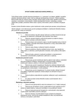 ETICKÝ KODEX ASOCIACE DEVELOPERŮ z.s. Tento Etický kodex