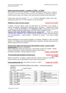 SZZ 2.2. - 4.2.2016 - důležité termíny a pokyny
