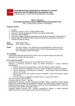 Zápis + Usnesení Ze zasedání Regionální rady OS ČMKOS
