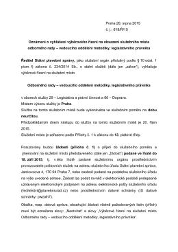 Praha 26. srpna 2015 č. j.: 618/Ř/15 Oznámení o vyhlášení