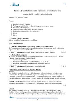 Zápis 3. zasedání konaného dne 22. 8. 2015