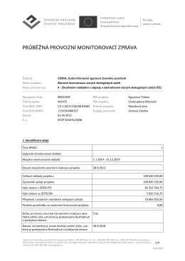 Průběžná monitorovací zpráva za 2014 (PDF 107 kB)