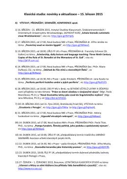 Klasická studia: novinky a aktualizace – 15. březen 2015