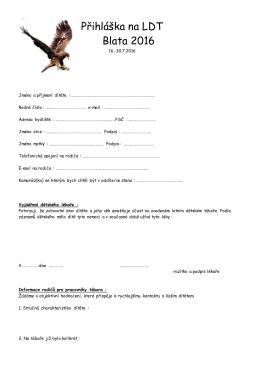 Přihláška na tábor ve formátu PDF