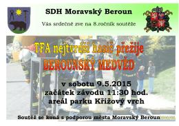 SDH Moravský Beroun v sobotu 9.5.2015 začátek závodu 11:30 hod