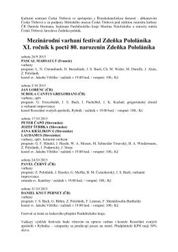 Mezinárodní varhaní festival Zdeňka Pololáníka 2015