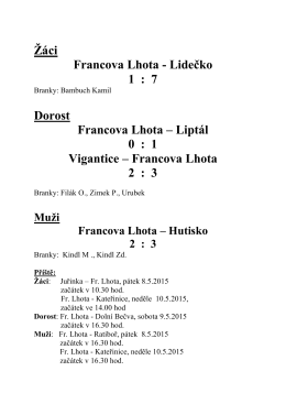 Výsledky - Francova Lhota