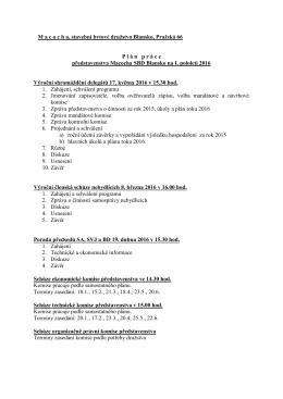 Plán práce představenstva na období 1-6/2016