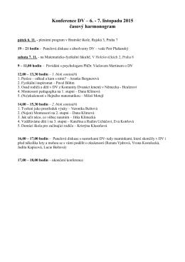 Konference DV – 6. - 7. listopadu 2015 časový harmonogram