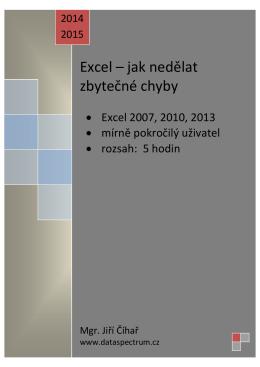 Školení pro pokročilé uživatele – Excel