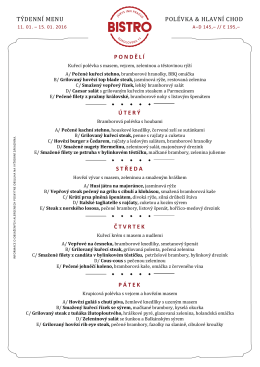 týdenní menu polévka & hlavní chod pondělí úterý středa čtvrtek pátek