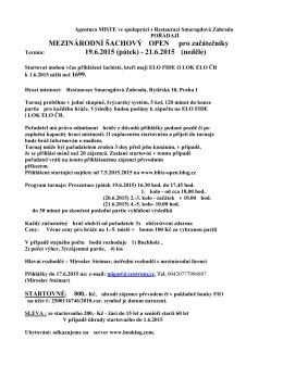 MEZINÁRODNÍ ŠACHOVÝ OPEN pro začátečníky 19.6.2015 (pátek