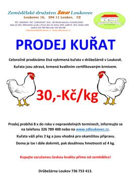prodej kuřat - ZD Loukovec