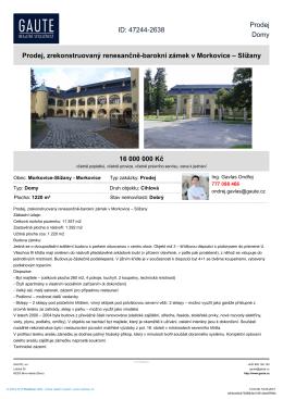 Prodej, zrekonstruovaný renesančně-barokní zámek v