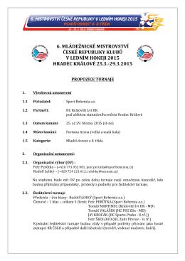 6. mládežnické mistrovství české republiky klubů v ledním hokeji 2015