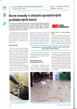 Nové trendy v oblasti epoxidových podlahových hmot