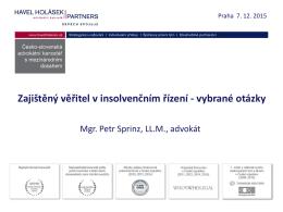Zajištěný věřitel v insolvenčním řízení