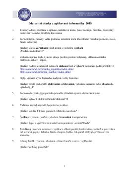 Maturitní otázky Aplikovaná část 2015