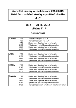 Časový plán MZ pro 4.C