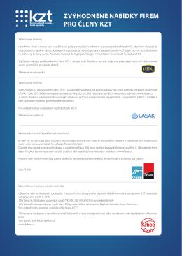 Zvýhodněné nabídky firem pro členy KZT