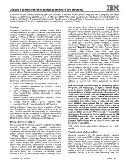 Dohoda o rámcových obchodních podmínkách pro programy