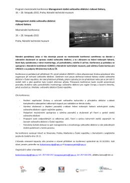Program konference Management statků světového dědictví