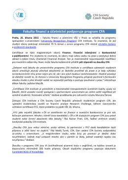 Fakulta financí a účetnictví podporuje program CFA