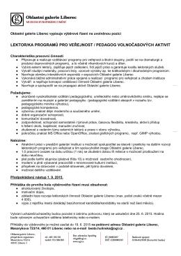lektor/ka programů pro veřejnost / pedagog volnočasových aktivit