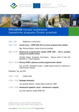 Program Výroční konference OPŽP 12.2.2015