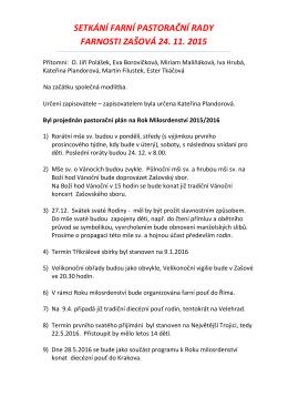 Zápis ze setkání pastorační farní rady 24.11.2015