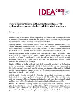 Oborová publikační výkonnost pracovišť - IDEA - cerge-ei