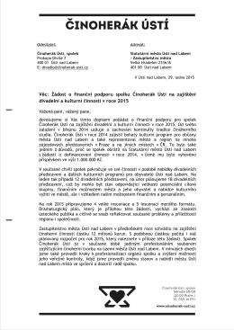 Věc: Žádost o finanční podporu spolku Činoherák Ústí na zajištění