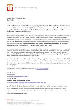 Tisková zpráva Jom ha-šoa 2015 - Institut Terezínské iniciativy