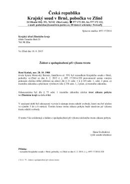 Česká republika Krajský soud v Brně, pobočka ve Zlíně